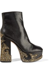 Marc Jacobs Stasha Glitter Appliqued Snake Effect Leather Platform Boots Black