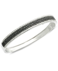 Effy Collection Caviar By Effy Diamond Black 2 3 4 Ct. T.W. And White 1 7 8 Ct. T.W. Diamond Bangle In 14K White Gold