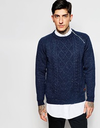 Only And Sons Cable Knit Jumper With Side Zip And Nep Yarns Navy