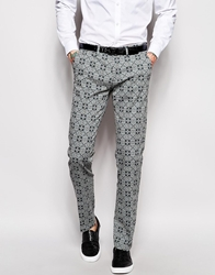 Sisley Geo Tile Print Suit Trousers In Slim Fit Teal911
