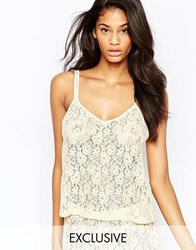 Wolf And Whistle Lace Open Back Cami Top White