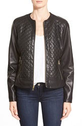 Cole Haan Signature Collarless Quilted Faux Leather Jacket Black