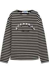 Steve J And Yoni P Embroidered Striped Cotton Jersey Top Black