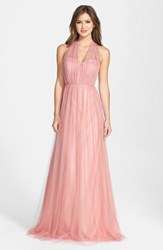 Jenny Yoo Women's 'Annabelle' Convertible Tulle Column Dress Begonia Pink