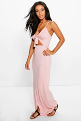 Boohoo Knot Front Strappy Midi Dress Nude
