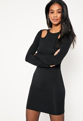 Missguided Black Circle Shoulder Cut Out Bodycon Dress