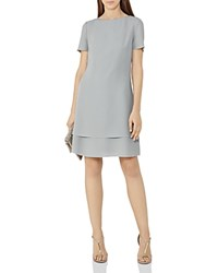 Reiss Cindy Tiered Hem Dress Powder Blue