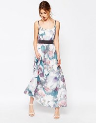 Yumi Uttam Boutique Cherry Blossom Maxi Dress With Contrast Waist Multi Colour