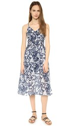 J.O.A. Printed Midi Dress Navy