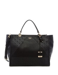 Guess Cammie Large Logo Debossed Satchel Black