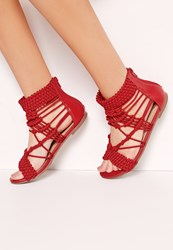 Missguided Origami Rope Flat Sandals Red Red