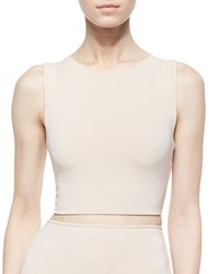 Alice Olivia Twist Back Jersey Crop Top Tan