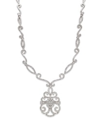 Wrapped In Love Diamond Victorian Pendant Necklace In 14K White Gold 1 1 2 Ct. T.W.
