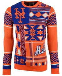 Forever Collectibles Men's New York Mets Patches Christmas Sweater Royalblue Orange White