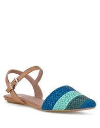 Elliott Lucca Bailey Woven Leather Flats Reef Blue