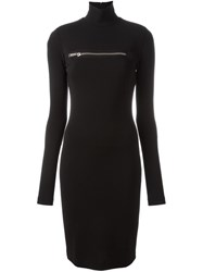 Dsquared2 Front Zip Fitted Dress Black