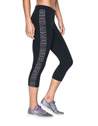 Under Armour Solid Logo Printed Capri Pants Black White