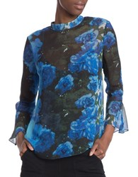 Tracy Reese Bell Sleeve Mock Neck Floral Silk Top Blue Black
