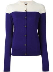 Jil Sander Navy Bicolour Cardigan Blue