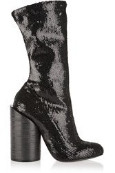 Givenchy Boots In Sequined Black Stretch Leather