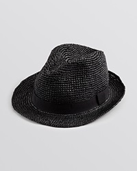John Varvatos Usa Straw Fedora Black