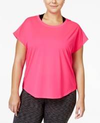 Ideology Plus Size Mesh Back T Shirt Only At Macy's Molten Pink
