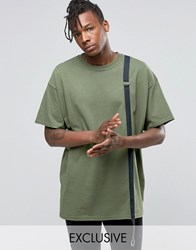 Reclaimed Vintage Oversized T Shirt With Strap Detail Khaki Green