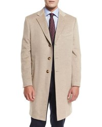 Neiman Marcus Cashmere Three Button Long Coat Oatmeal