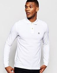 United Colors Of Benetton Long Sleeve Pique Polo In Slim Fit White101