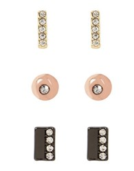 Kenneth Cole Pave Silver Stud Earrings Set 3 Piece Tri Tone