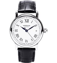 Montblanc 107115 Star Stainless Steel And Leather Watch