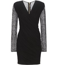 Balmain Ruched Mini Dress Black