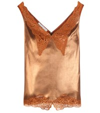 Stella Mccartney Lame And Lace Camisole Brown