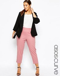 Asos Curve Cropped Trousers In Linen Pink