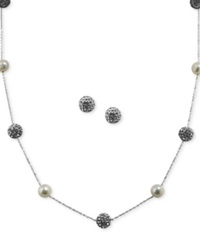 Honora Style Cultured Freshwater Pearl 7Mm And Crystal Station Jewelry Set In Sterling Silver