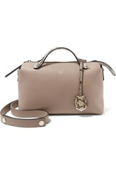 Fendi By The Way Small Elaphe Trimmed Leather Shoulder Bag Mushroom