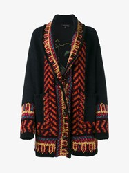 Etro Mohair Blend Dragon Embroidered Cardig Black Multi Coloured Silver Green
