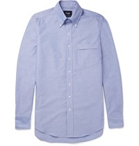 Drakes Slim Fit Button Down Collar Cotton Oxford Shirt Blue