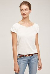 Anthropologie Button Back Tee Ivory