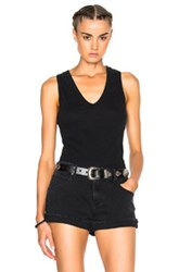 James Perse Skinny Racerback Tank Top In Black