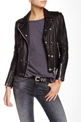 Doma Padded Patch Leather Motorcycle Jacket Black