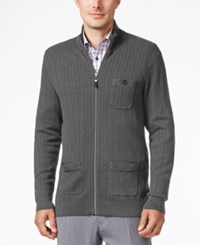 Tasso Elba Men's Big And Tall Ribbed Mock Turtleneck Ribbed Sweater Only At Macy's Black Twist Combo