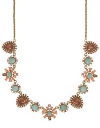 Marchesa Multicolored Crystal Floral Necklace Gold
