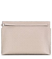 Loewe T Pouch Embossed Leather Clutch Beige