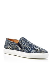 Carven Striped Slip On Sneakers Blue Tan