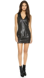 Autograph Addison Hardy Plunging Shift Dress Black Silver