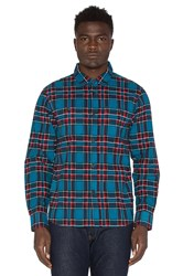Stussy Double Brush Flannel Button Down Blue