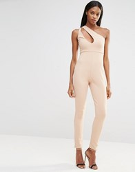 Missguided One Shoulder Jumpsuit Nude Tan