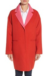 Kate Spade Women's New York Double Face Wool Blend Coat Lollipop Red Pink Swirl