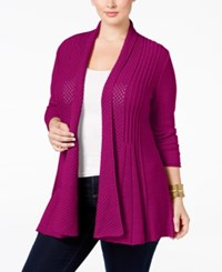 Ny Collection Plus Size Pointelle Knit Duster Cardigan Poison Berry